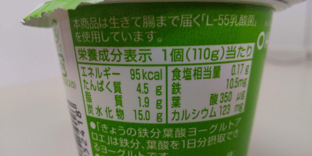 オハヨー『きょうの鉄分葉酸ヨーグルトアロエ』栄養成分表示