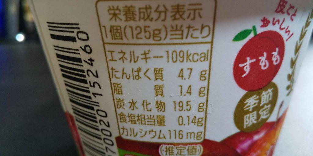 ぜいたく果実すもも&ヨーグルト世栄養成分表示