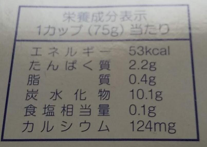 クリーミーヨーグルト栄養成分表示