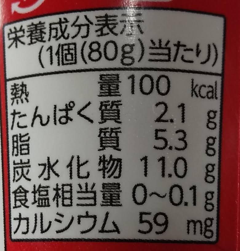 カップdeヤクルト栄養成分表示
