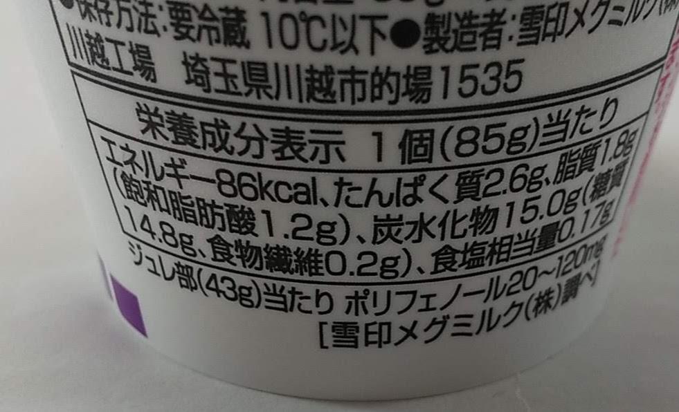ジュレグルト グレープの栄養成分表示